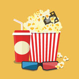 Vector illustration. Popcorn and drink. Film strip border. Popcorn and drink. Film strip border. Cinema movie night icon in flat design style. Bright background Stock Images