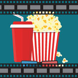 Vector illustration. Popcorn and drink. Film strip border. Popcorn and drink. Film strip border. Cinema movie night icon in flat design style. Bright background Royalty Free Stock Photos