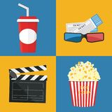Vector illustration. Popcorn and drink. Film strip border. Popcorn and drink. Film strip border. Cinema movie night icon in flat design style. Bright background Royalty Free Stock Photography