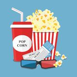 Vector illustration. Popcorn and drink. Film strip border. Popcorn and drink. Film strip border. Cinema movie night icon in flat design style. Bright background Royalty Free Stock Image