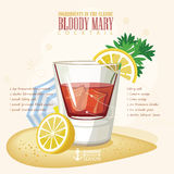 Vector illustration of popular alcoholic cocktail. Bloody Mary club alcohol shot. Royalty Free Stock Image