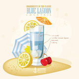 Vector illustration of popular alcoholic cocktail. Blue lagoon club alcohol shot. Stock Photography
