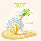Vector illustration of popular alcoholic cocktail. Kamikaze club alcohol shot. Royalty Free Stock Photos