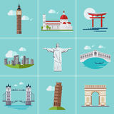 Vector illustration of Popular Sightseeing Stock Images