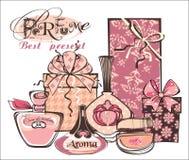Vector illustration of porfume bottles Royalty Free Stock Photos