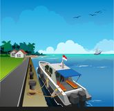 Water police patrol. Vector illustration, port atmosphere with a water police patrol boat anchored vector illustration