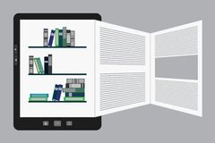 Portable modern tablet  e-book reader. Vector illustration of a portable modern tablet  e-book reader with book pages Royalty Free Stock Photos