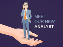 Vector illustration of a portrait of analyst man in a jacket han. D holds glasses standing on palm of the hand on dark background. Design for web, site Stock Photos