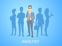 Vector illustration of a portrait of analyst man in a jacket han Royalty Free Stock Photo