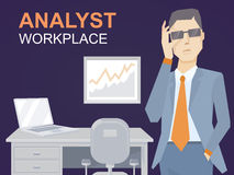 Vector illustration of a portrait of analyst man Stock Photo