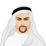 Vector illustration portrait of a arab man in keffiyeh Royalty Free Stock Photo