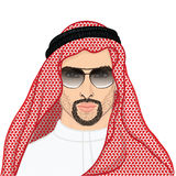 Vector illustration portrait of a arab man in keffiyeh Stock Images