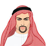 Vector illustration portrait of a arab man in keffiyeh Stock Photography