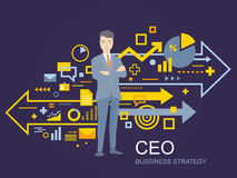 Vector illustration of a portrait of the leader of a businessman Royalty Free Stock Images