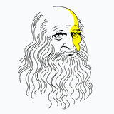 Vector illustration portrait of Leonardo da Vinci, linear pattern, a symbol, a genius. Vector illustration portrait of Leonardo da Vinci, linear pattern, a Stock Photo