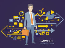 Vector illustration of a portrait of a man in a jacket lawyer wi Stock Photo