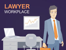 Vector illustration of a portrait of a man in a jacket lawyer wi Stock Photos