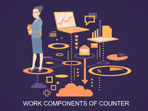 Vector illustration portrait of a woman counter keeps a folder w Royalty Free Stock Photo