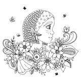 Vector illustration  portrait of a woman in  flower frame. Doodle. Coloring book anti stress for adults. Black white. Royalty Free Stock Image