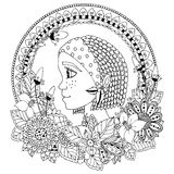 Vector illustration  portrait of a woman in  flower frame. Doodle. Coloring book anti stress for adults. Black white. Stock Photos