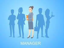 Vector illustration portrait of a woman manager keeps a folder Stock Image