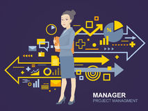 Vector illustration portrait of a woman manager keeps a folder w Royalty Free Stock Photo