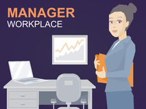 Vector illustration portrait of a woman manager keeps a folder w Stock Photos