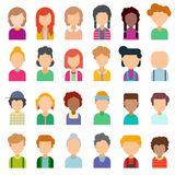 Colorful set of avatars in flat design. Vector illustration. Portraits of different people on a white background Stock Illustration