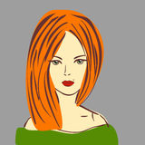 Vector Illustration of Posh Red Hair Girl with Red Lipstick. In Green Dress. Beauty Royalty Free Stock Photography