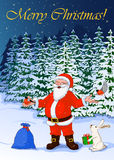 Vector Illustration post card Merry Christmas of jolly Santa Claus in the night winter forest. Post card vector illustration Merry Christmas of jolly Santa Stock Image
