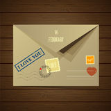 Vector illustration of the postal envelope Stock Photos
