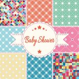 Vector illustration, postcard. Baby shower invitation card. Baby girl, boy or twins arrival, shower, Greeting, announcement card. Embroidery patchwork Royalty Free Stock Photography