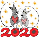 Vector illustration, postcard - Happy new year 2020. Chinese horoscope - the year of the rat stock photo