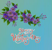 Vector illustration postcard Happy Valentine`s Day Stock Image
