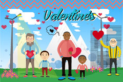 Vector illustration. Postcard on Valentine's Day with the characters. Royalty Free Stock Photos