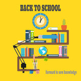 Vector illustration of poster Back to school on the yellow background with rays. Stock Photo