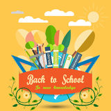 Vector illustration of poster Back to school on the yellow background with sun and clouds. Royalty Free Stock Photography