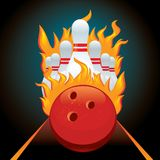 Vector poster ball and pin for bowling Royalty Free Stock Photo