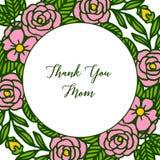 Vector illustration poster thank you mom with various artwork pink flower frame vector illustration