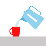Vector illustration. pouring boiling water from the kettle into Stock Image