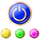 Vector illustration of power button. Power Sphere Icon. Set of buttons in different colors vector illustration