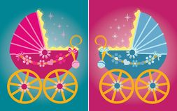Vector illustration of a pram for baby boys and gi Stock Image
