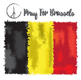 Vector illustration Pray for Belgium 22 March 2016. Royalty Free Stock Photo