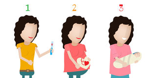 Vector illustration of pregnant female silhouettes. Changes in a woman's body in pregnancy. Pregnancy stages, trimesters and birth, pregnant woman and baby Stock Photo