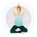 Vector illustration of a pregnant woman doing pregnancy yoga poses Royalty Free Stock Photos