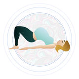 Vector illustration of a pregnant woman doing pregnancy yoga poses Royalty Free Stock Photography