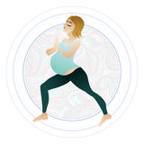 Vector illustration of a pregnant woman doing pregnancy yoga poses Stock Photos