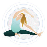 Vector illustration of a pregnant woman doing pregnancy yoga poses Royalty Free Stock Photo