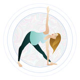 Vector illustration of a pregnant woman doing pregnancy yoga poses Royalty Free Stock Image