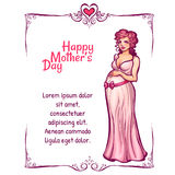 Vector illustration of pregnant woman in pink Royalty Free Stock Photography